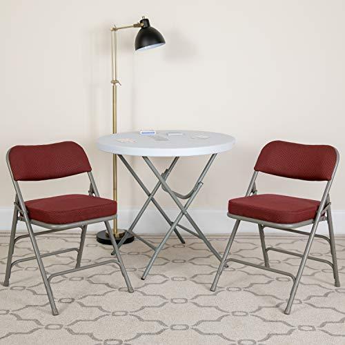 Flash Furniture 2 Pk. HERCULES Series Premium Curved Triple Braced & Double Hinged Burgundy Fabric Metal Folding Chair