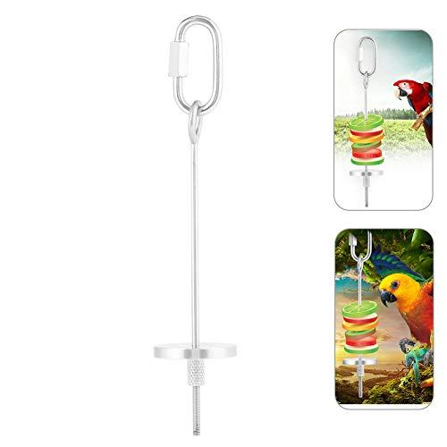 Pssopp Vogel Obst Halter Edelstahl Obst- und Gemüsehalter Frucht-/Gemüse-Spieß Werkzeug für Vögel Papageien, Wellensittiche, Sittiche, Nymphensittiche(S)