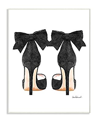 Stupell Industries Glam Pumps Heels with Black Bow Stretched Canvas Wall Art, Proudly Made in USA from Stupell Industries