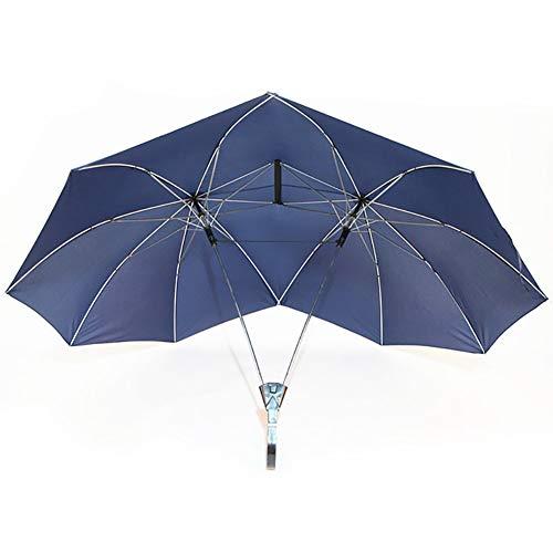 RSGK Halbautomatischer Doppelter Sonnenschirm, Kreativer Regenschirm Für Erwachsene Mit Langem Griff Und Kurbel, Verwendet Für Strand- / Park- / Sonnenschutz- / Außenreisen