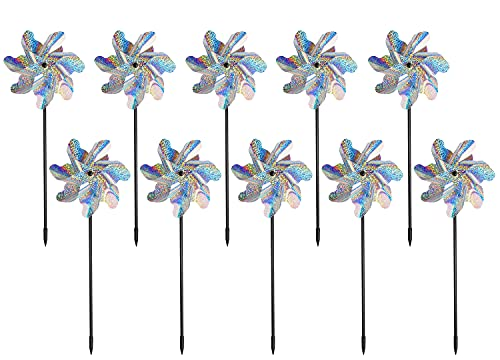 Bird Blinder Repellent Pinwheels (10 Pack) 15 inch Pinwheel Bird Deterrent, Holographic Pin Wheels for Yard and Garden, Garden Spinners Effectively Keep Birds Away