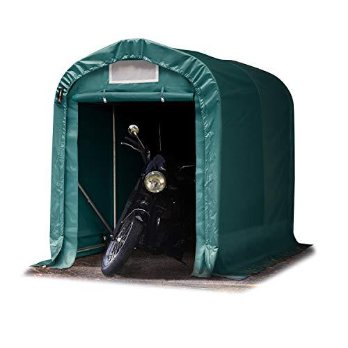 TOOLPORT Tente-Garage carport 1,6 x 2,4m d'élevage abri agricole Tente de Stockage bâche env. 550g/m² Armature Solide Vert Fonce