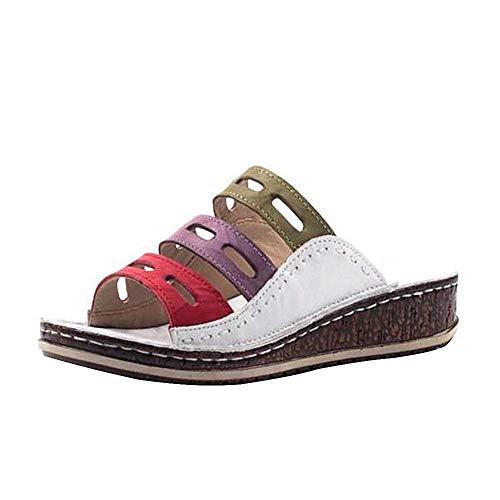 YTWD Sandalias de las mujeres coloridas sin respaldo zapatilla Sandles antideslizante ortopédico vintage para las señoras niña más tamaño verano sandalia