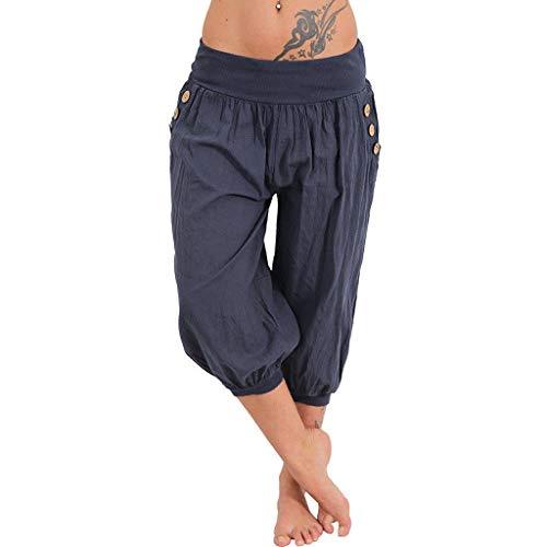 VRTUR Damen Yogahose Pumphose in Unifarben | lässige Kurze Hose | Bermuda für den Strand | Haremshose Sommer 3/4 Yogahose Aladinhose Pluderhose Stoffhose (X-Large,Marine)
