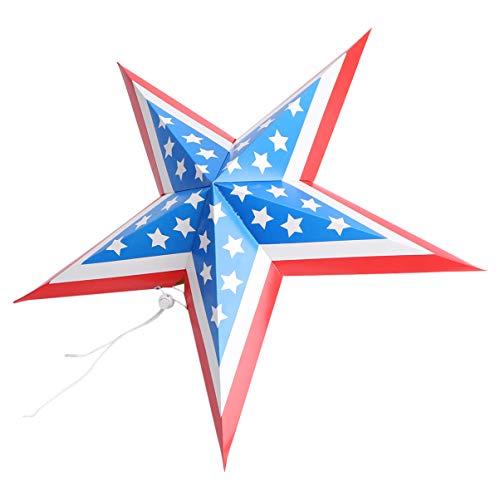 PRETYZOOM Adorno de estrella de papel para colgar estrellas y rayas, patrón de bandera de Estados Unidos, decoración de techo para fiestas patrióticas, 45,7 cm