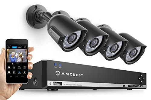 Amcrest 960H Video Security System Four 800+TVL Weatherproof Cameras, 65ft Night Vision, 984ft Transmit Range, 500GB HDD (Renewed)