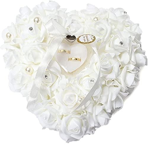 15x13cm romántico del amortiguador del anillo de bodas agraciado Rose caja del anillo elegante del corazón de los favores del anillo de bodas almohada con una elegante flor flora satén blanco