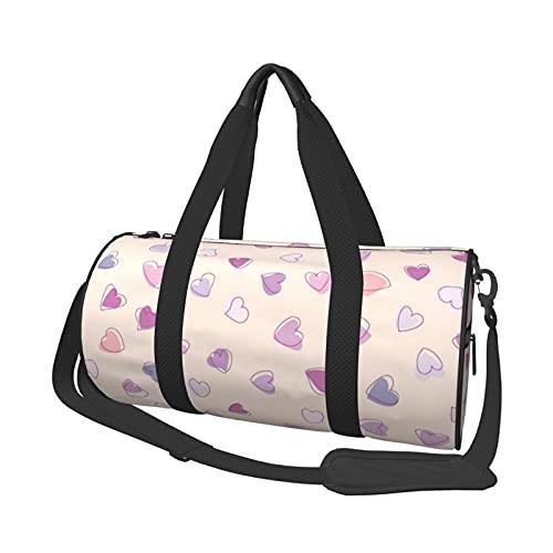 MBNGDDS Bolsa de viaje con forma de corazón, ligera, plegable, impermeable, con correa para el hombro, bolsa de gimnasio para hombres y mujeres, ver imagen, Talla única,
