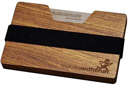 MakakaOnTheRun MakakaOnTheRun Holz Kartenetui (Rosenholz): Kleines Holz Portemonnaie, Slim Wallet Kreditkartenetui, Geldbeutel aus Holz für Männer. Veganes Kreditkartenetui & Visitenkartenetui