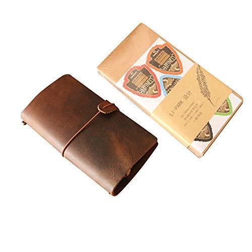 DLYGH Blocs de Notas Caja del Cuaderno de Viaje Libro A5 Piel + 5 núcleos (Color : 5 Separate Replacement Cores, Size : A5)