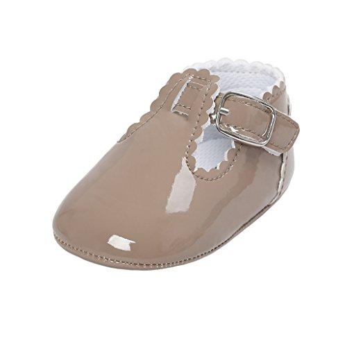 Primeros Zapatos para Caminar,Auxma La Princesa del bebé Sola Suave Calza Las Zapatillas de Deporte del niño Zapatos Ocasionales (7-13 M, Albaricoque de Color Gris Oscuro)