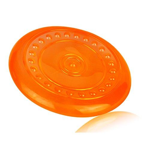 VetMedia Hunde-Frisbee I Frisbee für mittlere & große Hunde I Interaktives Hunde-Spielzeug zum Werfen I Hundefrisbee bissfest & schwimmt (orange)