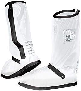 PERLETTI Cubrecalzado Impermeable Transparente de PVC - Protectores Zapatos Altos Resistente y Reutilizable con Suela Antideslizante - Galochas para Lluvia, Nieve y Fango (L 43/45, Negro)