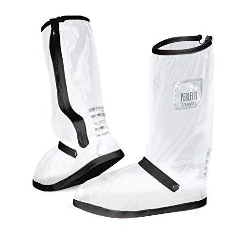 PERLETTI - Cubrecalzados Impermeables Transparentes Altos - Cubrezapatillas Reflectantes Antideslizantes - Galochas para Lluvia, Nieve y Fango - Protectores Zapatos de PVC Resistentes y Reutil