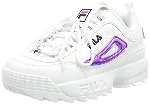 FILA Disruptor M kids zapatilla Unisex niños, blanco (White/Purple Cactus Flower), 38 EU
