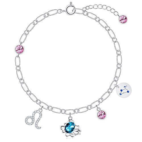 SUE'S SECRET Leo Birthstone Charm Bracelets Zodiac Constellations Sign with Crystals from Swarovski Delicate Gift for Girls Women