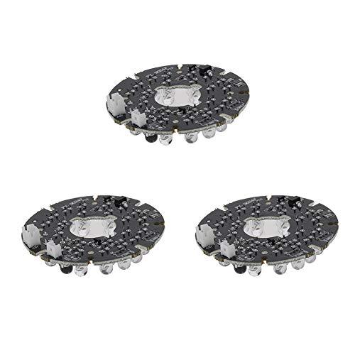 Othmro 24 LEDs, 60 Grad, r&e Platte, Leuchtmittel für Überwachungskamera, Weiß, 3 Stück