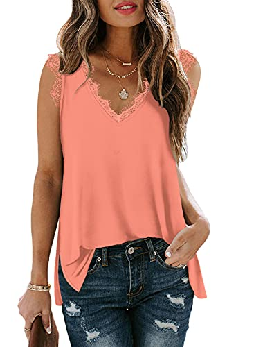 SAMPEEL Layer Tank Tops for Women Long Sleeveless Tshirts Solid Cami Tanks Dressy Coral XL