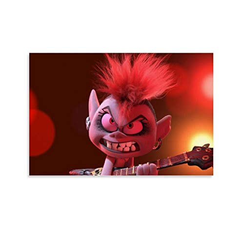 crownee Canvas Prints Trolls World Tour Queen Barb Electric Guitar Gallery Canvas Wall Art Home Decor Prints Posters 24x16inch(60x50cm)