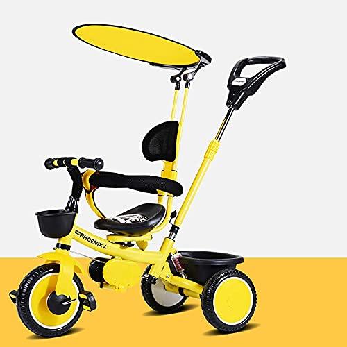 TANKKWEQ Plegable El Triciclo de Cochecito, y un Techo Ajustable del Asiento, Pedales Plegables, Cesta, Frenos, diseño de amortiguadores, Adecuado para niños de 26 años