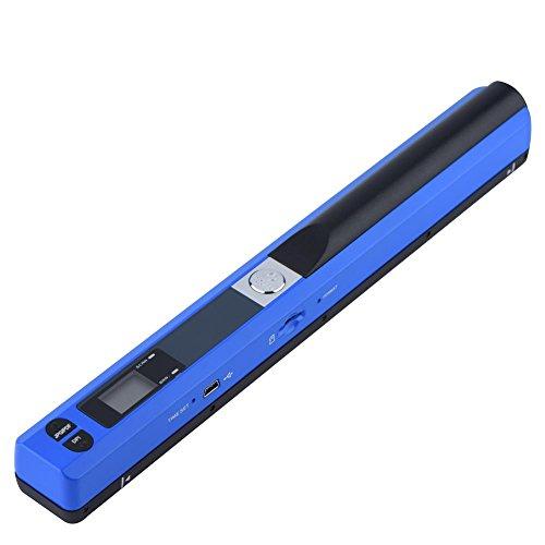 Richer-R Handscanner, Portable Scanner 900DPI Auflösung Mobile Farbe Dokumentenscanner,Wireless Tragbarer A4 Scanner Visitenkartenscanner JPG und PDF Format Schwarz/Blau(Blue)