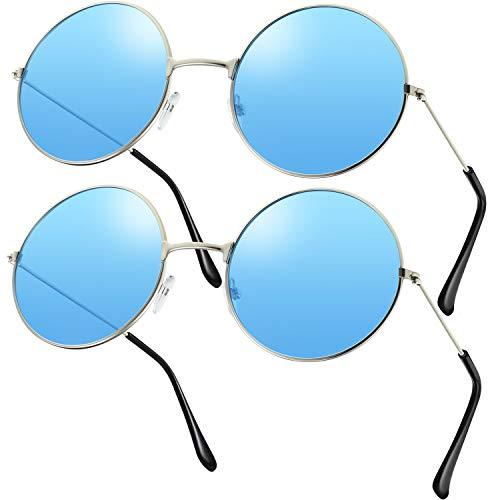 2 Paare Hippie Sonnenbrillen Retro Hippie Stil Sonnenbrillen Hippie Kostüm Sonnenbrillen Herren Damen Brillen (Blau Rund Form)