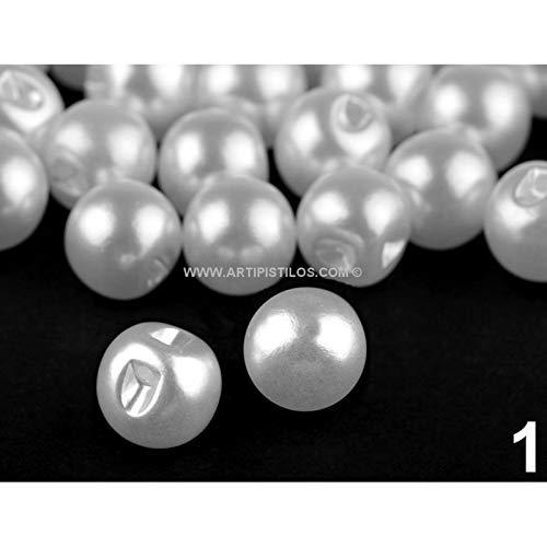 Artipistilos® Pearl Button 10 mm. - Ø 10 mm, wit - afzonderlijke parels