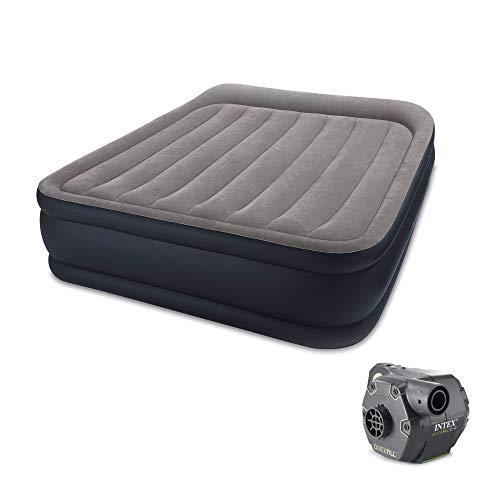 Intex Deluxe Raised Air Bed Mattress w/Built in Pump, Queen & Cordless Pump