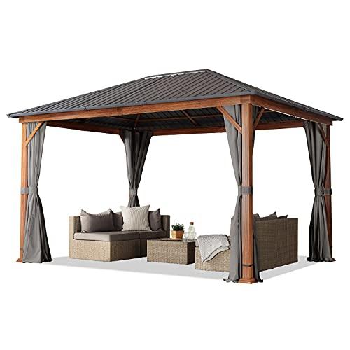 Gazebo da giardino 3x4 m effetto legno, tetto in acciaio, 4 pannelli laterali in grigio