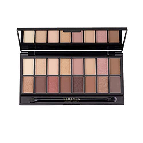Lidschatten-Palette Profi-Augenpalette mit 16 Farben Nude Bronze Schimmer Smokey Eyeshadow Makeup Lidschattenpinsel Matt Naked Lidschatten-Palette FEILINKA (A)