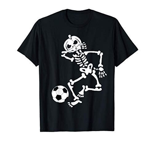 Fútbol Halloween Dabbing Skeleton Divertido regalo de Camiseta