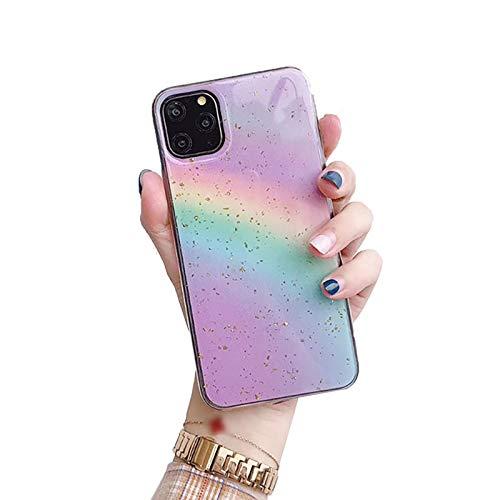 Funda para Iphone11/11pro/11pro MAX Arcoiris Degradado Brillo Carcasa Case Ultra Delgado Anti Choque Alto Grado Carcasa Silicona,Púrpura,11pro