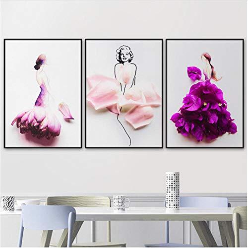 EDGIFT2 Acuarela Vestido de Flores niña póster Cuadros Arte de la Pared Impresiones Lienzo Pintura para Sala de Estar decoración del hogar 40x60cmx3 sin Marco