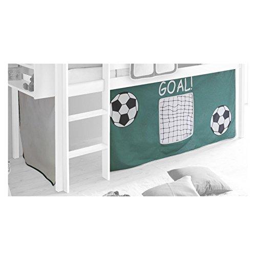 IDIMEX Vorhang Gardine Bettvorhang Fußball zu Hochbett Rutschbett Spielbett grün weiß