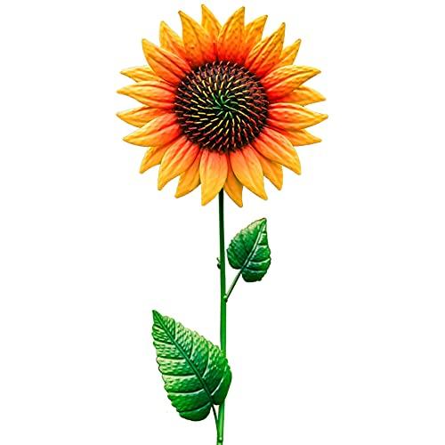 "Flower Garden Stakes Decor, 35"" Metal Sunflower Yard Stake Outdoor Garden Yard Art Decor Personalities Sunflower…"