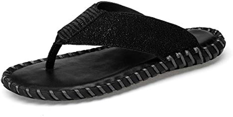 Flip flops Men's Flip-flops Comfortable Slippers Elegant Plain Casual Leather Clip Slippers Light Soft and Breathable Summer Beach flip flops (color   Black, Size   8.5 UK)