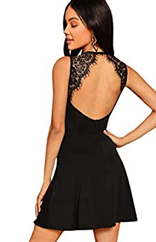 SheIn Women s Sleeveless Lace Applique Cocktail Backless Party Flare Mini Dress X-Small Black