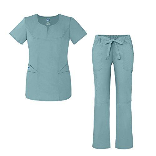 Adar Universal Women's Scrub Set -Fashion Scrub Top and Multi-Pocket Scrub Pants - 903 - Submarine - XXS