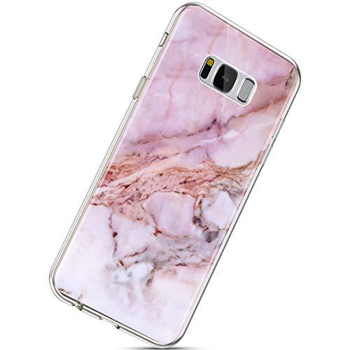 Herbests Compatible avec Samsung Galaxy S8 Plus Coque Ultra-Mince 3D Effet Motif Marbre IMD TPU Souple Coloré Peint Housse Ultra Slim Gel Antichoc Protection Case Cover,Pink