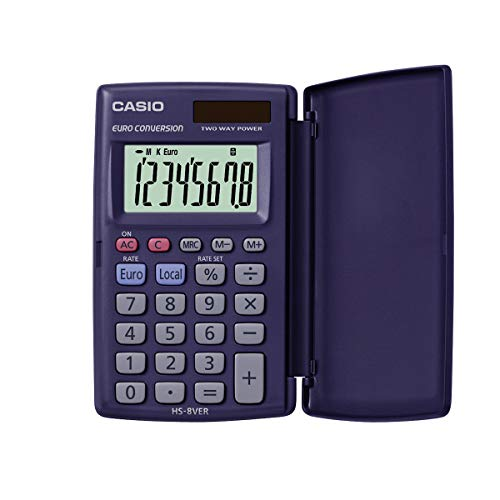 CASIO Taschenrechner HS-8VER, 8-stellig, Währungsumrechnung, Schutzklappe, Tausenderunterteilung, Solar-/Batteriebetrieb