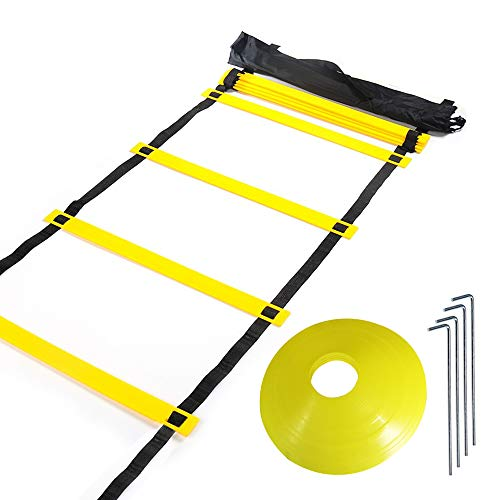 Huvai 6m 12 Rungs Agility Ladder Training with 12 Yellow Disc Cones, A Carry Bag