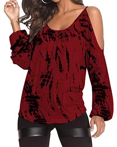 Blusa de hombros descubiertos, camisa de manga larga, casual, cuello redondo, túnica estampada al azar, de YOINS Rojo rosso S