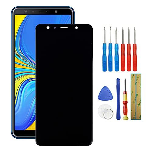 Fruisiy Super AMOLED Pantalla para Samsung Galaxy A7 2018 A750F SM-A750F, SM-A750FN, SM-A750G Cristal táctil de repuesto + herramientas