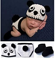Toptim Baby Photography Prop Hat Pants and Shoes Panda Design 0-12M White Black