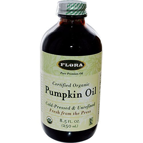 Organic Pumpkin Seed Oil 8.5 oz - Non GMO & Kosher - 100% Fresh Cold Pressed Artisan Oil - for Cooking, Skin Care, & Hair Growth - by Flora