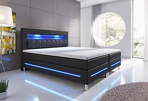 wohnenluxus Boxspringbett 180x200 Schwarz Florenz LED Hotelbett Kopflicht (Schwarz, 180 x 200 cm)