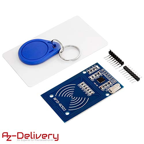 AZDelivery RFID Kit RC522 mit Reader, Chip und Card für Raspberry Pi inklusive E-Book!