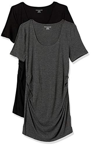 Amazon Essentials Maternity 2-Pack Short-Sleeve Rouched Scoopneck T-Shirt, Carbone Puntinato/Nero, M
