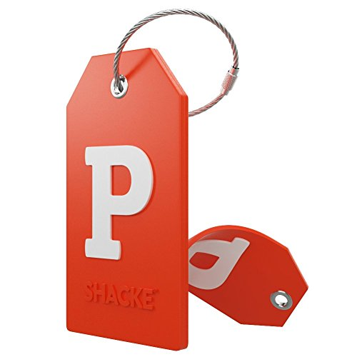 Initial Luggage Tag with Full Privacy Cover and Stainless Steel Loop – (Letter P)