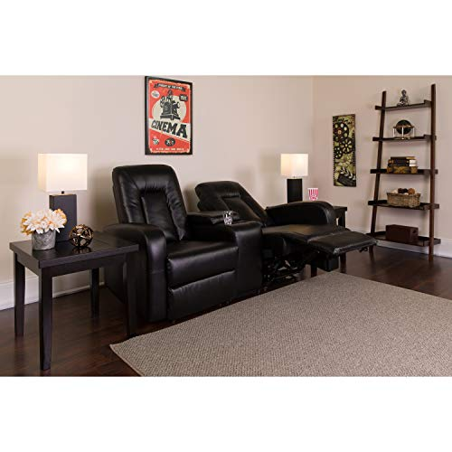 Flash Furniture Eclipse Series 2-Seat Reclining Black Leather Theater Seating...
